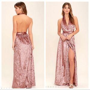 Lulus Velvet Halter Wrap Maxi Dress